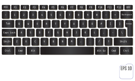 Vector illustration of black modern laptop keyboard