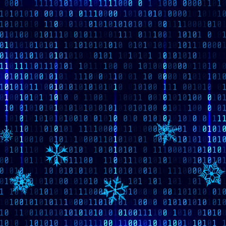 Ilustración de Vector matrix style binary background with falling snowflakes - Imagen libre de derechos