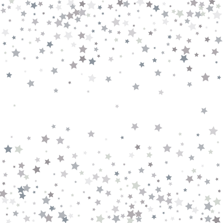 Illustration pour Silver glitter stars falling from the sky on white background. Abstract Background. Glitter pattern for banner. Vector illustration. - image libre de droit