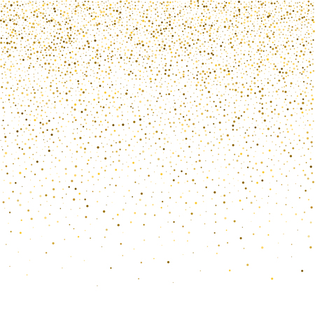 Ilustración de Vector glitter background. Cute small falling golden dots. Sparkle background. Glitter sparkle confetti texture. New year celebration invitation card template with luxury stardust. Gold chridtmas card - Imagen libre de derechos