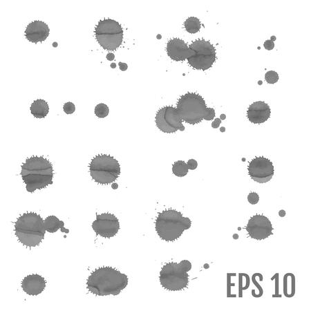 Ink spots set on white background. Gray Inks. Vector illustration.