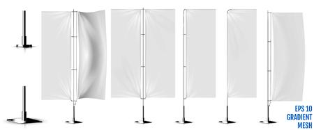 Illustration pour Realistic white banner flags 3d mockup. Textile waving advertisement banner flags. - image libre de droit
