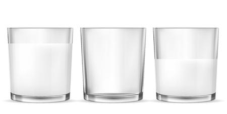 Illustration pour Set of vector realistic transparent glass glasses empty, half full and full of milk, dairy product, yogurt, kefir, protein cocktail. Print, template, design element - image libre de droit