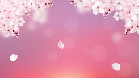 Illustration pour Beautiful delicate background with blossoming light pink sakura flowers with place for text. Delicate floral design. Realistic vector illustration. Modern nature backdrop. Ecology concept. - image libre de droit