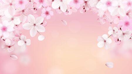 Ilustración de Blossoming light pink sakura flowers. Realistic cherry flowers - Imagen libre de derechos