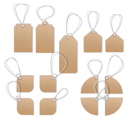 Photo pour Price tags, empty labels, Sale tags and labels. Realistic mocap, detailed thread, cardboard texture. - image libre de droit