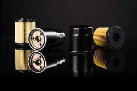 Photo pour Various car or automotive parts on black - image libre de droit
