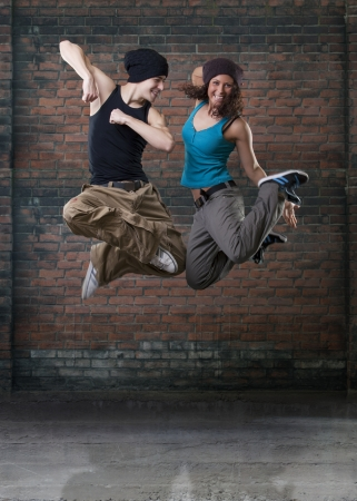 Passion dance couple jumping