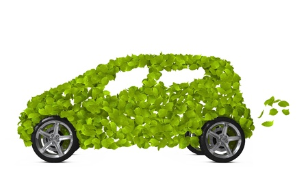 Funny environmentally friendly car isolated on white. Go Green- concept image.