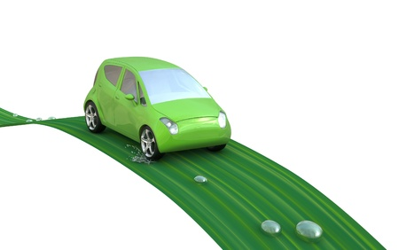 Environmentally friendly car on a leaf with water droplets. Go Green- concept image.