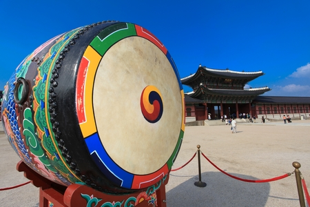 Korean traditional drum called buk, with Taegeuk symbol