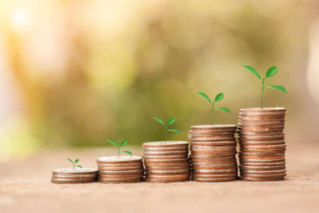 Foto de Save Money concept for Financial, Investment and Business with money coin stack for growing with sun light bokeh background. - Imagen libre de derechos