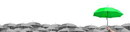 Photo pour Leadership business concept: Black umbrella over gray umbrellas white background - image libre de droit