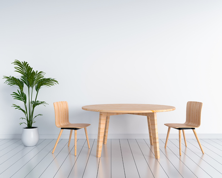Foto per Wooden chairs and tables in white room. 3D rendering - Immagine Royalty Free