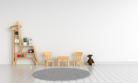 Foto de wood table and chair in white child room for mockup, 3D rendering - Imagen libre de derechos