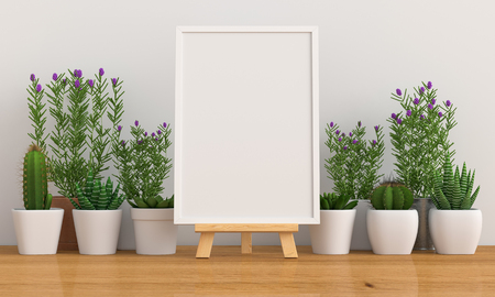 Photo pour Blank photo frame for mockup with cactus and flower on floor, 3D rendering - image libre de droit