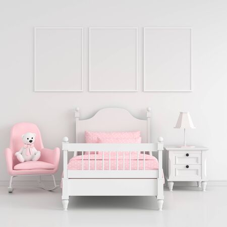 Foto de Three empty photo frame for mockup in white child bedroom interior, 3D rendering - Imagen libre de derechos