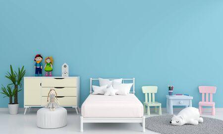 Foto de Blue children bedroom interior for mockup, 3D rendering - Imagen libre de derechos