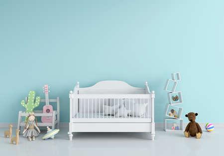 Photo pour Blue children bedroom interior for mockup, 3D rendering - image libre de droit