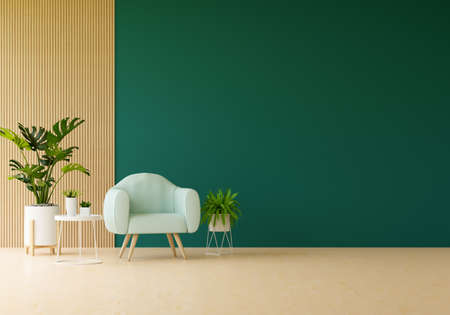 Photo pour Armchair in green living room with free space for mockup, 3D rendering - image libre de droit