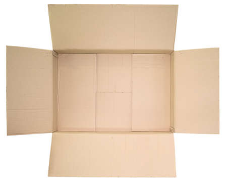 Photo for Close up view in the open lid of the empty brown big box isolated on white background - Royalty Free Image