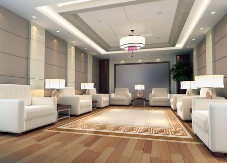 a reception room.3d render