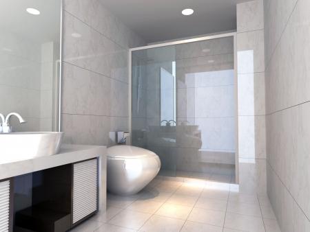 modern design interior of stylish bathroom. 3D render