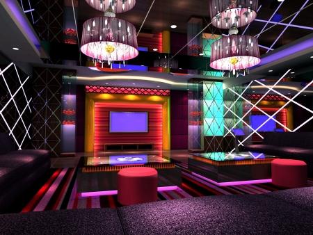 modern design club of room, hall. 3D render