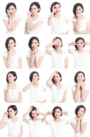 Foto de collage of chinese woman different facial expressions - Imagen libre de derechos