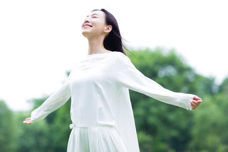 Photo for chinese woman enjoying the nature - Royalty Free Image