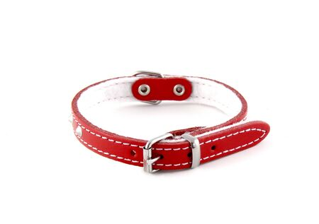 Photo pour Red leather collar isolated over white background. It is a stylish collar for small dogs. - image libre de droit