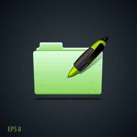 folder icon with green pen
