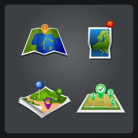 Illustration pour map set icon with pin - image libre de droit