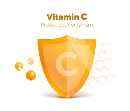 Illustration pour Vitamin C concept 3d shield with molecule, protected guard. Presentation shining sticker shield. Isolated on white. - image libre de droit