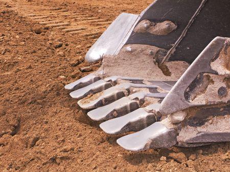 close up of a big bulldozer scoop
