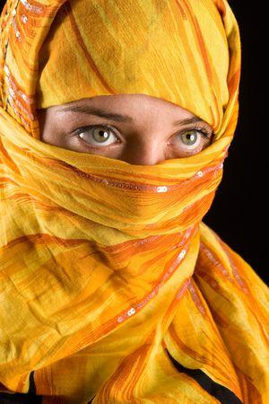 close-up portrait of a beautiful woman wearing veil