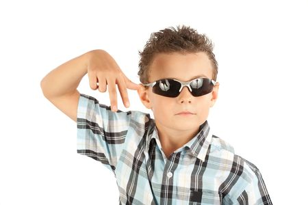 Cool and trendy kid with sunglasses isolated over white background