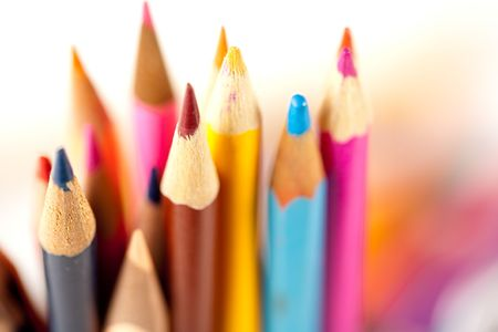 Close up of many pencils over blurred background, shallow depth of field