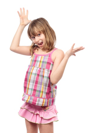 Portrait of a cheerful girl with her hands up, isolated on white