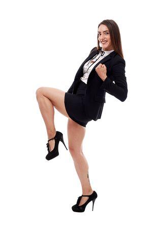 Photo pour Cheerful and successful businesswoman celebrating her achievements - image libre de droit