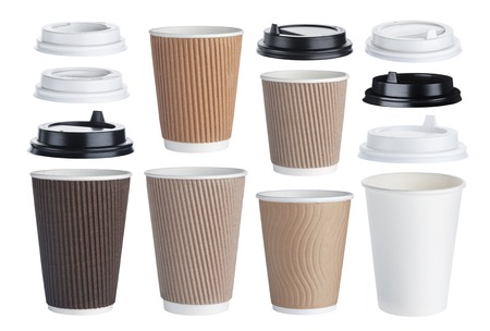 Foto de Disposable paper coffee cup isolated on white background. Collection - Imagen libre de derechos