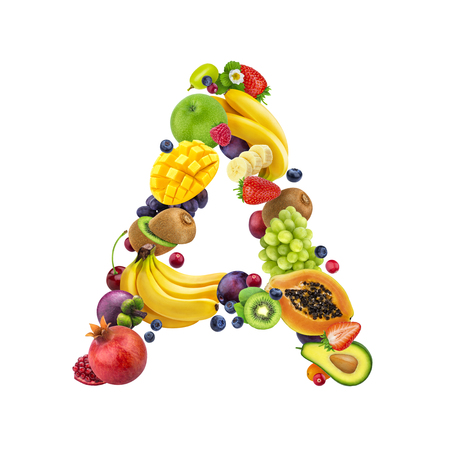 Foto de Letter A made of different fruits and berries, fruit alphabet isolated on white background - Imagen libre de derechos