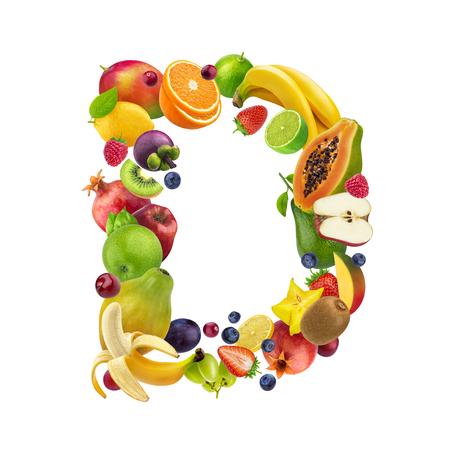 Foto de Letter D made of different fruits and berries, fruit font isolated on white background, healthy alphabet - Imagen libre de derechos