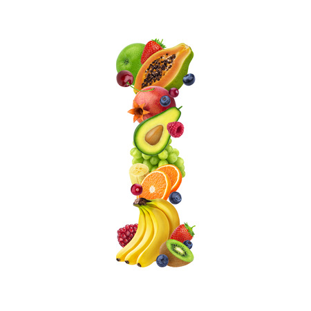 Photo pour Letter I made of different fruits and berries, fruit alphabet isolated on white background - image libre de droit