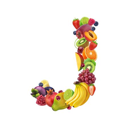 Foto de Letter J made of different fruits and berries, fruit alphabet isolated on white background - Imagen libre de derechos