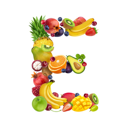 Foto de Letter E made of different fruits and berries, fruit font isolated on white background - Imagen libre de derechos