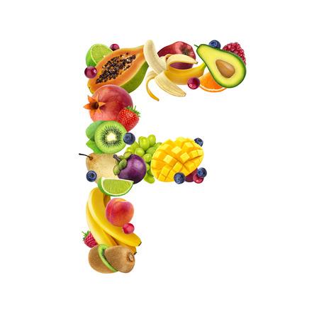 Foto de Letter F made of different fruits and berries, fruit alphabet isolated on white background - Imagen libre de derechos