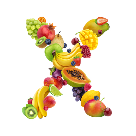 Foto de Letter - X made of different fruits and berries, fruit alphabet isolated on white background - Imagen libre de derechos
