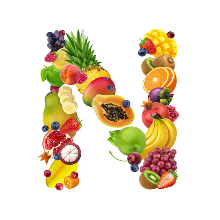 Foto de Letter N made of different fruits and berries, fruit alphabet isolated on white background - Imagen libre de derechos
