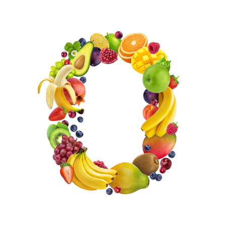 Foto de Letter O made of different fruits and berries, fruit alphabet isolated on white background - Imagen libre de derechos